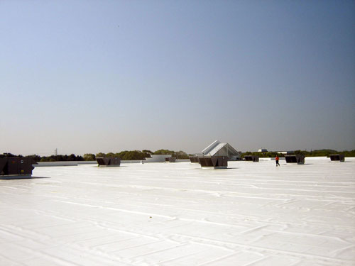 white thermoplastic (T.P.O.) membrane roofing, New Century Roofing, commercial and industrial roofing in Rhode Island Massachusetts and New Hampshire