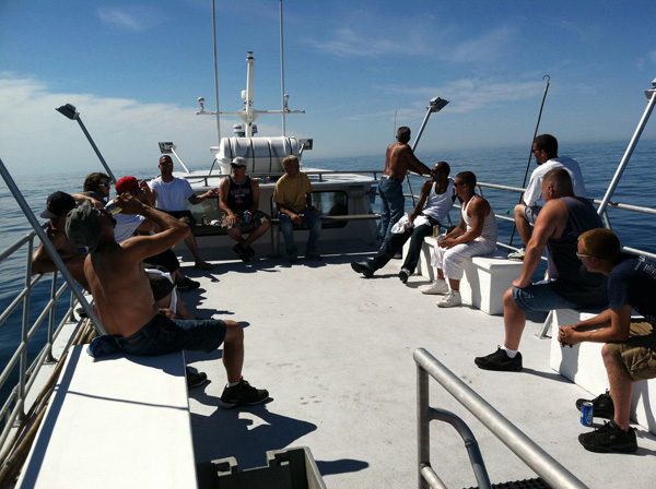 New Century Roofing staff on a fishing trip, commercial roofing in MA RI and NH