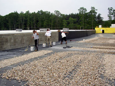 ballasted E.P.D.M. roofing system, New Century Roofing, commercial and industrial roofing in New England