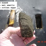 Foam Glass roof insulation example. When wet smells like rotten egs.