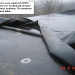 Non-reinforced EPDM roof membrane securement failure example