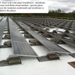 PVC roof with solar panel installation - example