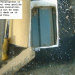 Expanded Polystyrene or EPS (white) over perlite (gray/brown) insulation - example