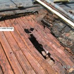 Steel roof deck - rusted through - example