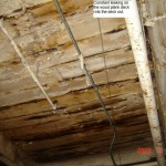Constant leaking on the wood plank roof deck rots the deck out - example