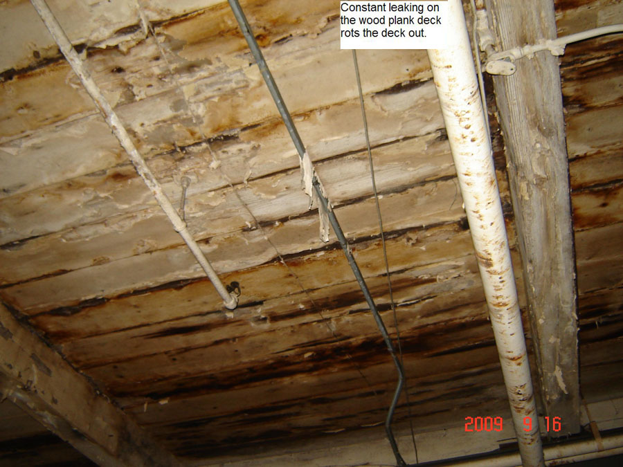 Constant Leaking On The Wood Plank Roof Deck Rots The Deck Out   Example